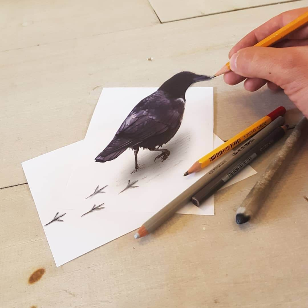 10-Crows-Footprints-Ramon-Bruin-Various-styles-of-3D-drawings-www-designstack-co