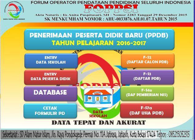 Tampilan Depan Aplikasi PPDB Format Excel FOPPSI Kabupaten Garut