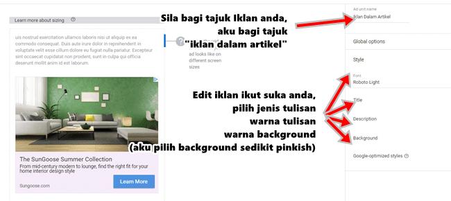 tutorial letak iklan adsense dalam entry blog