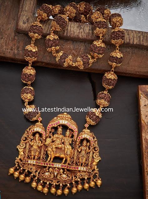 Rudraksh Mala with Shiv Parivar Pendant