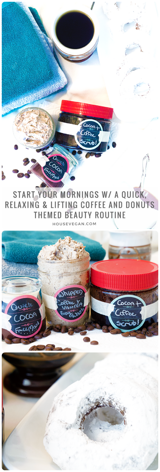 spa mornings, coffee spa, DIY coffee spa, homemade coffee spa, DIY whipped coffee body wash, vegan whipped body wash, DIY whipped body wash, aloe sugar scrub, DIY coffee aloe sugar scrub, homemade coffee aloe scrub,, homemade aloe sugar scrub, cocoa face mask, DIY donut face mask, chocolate DIY face mask, vegan chocolate face mask, spa for mornings, homemade weekday morning spa, at home spa for weekdays, at home spa for busy mornings
