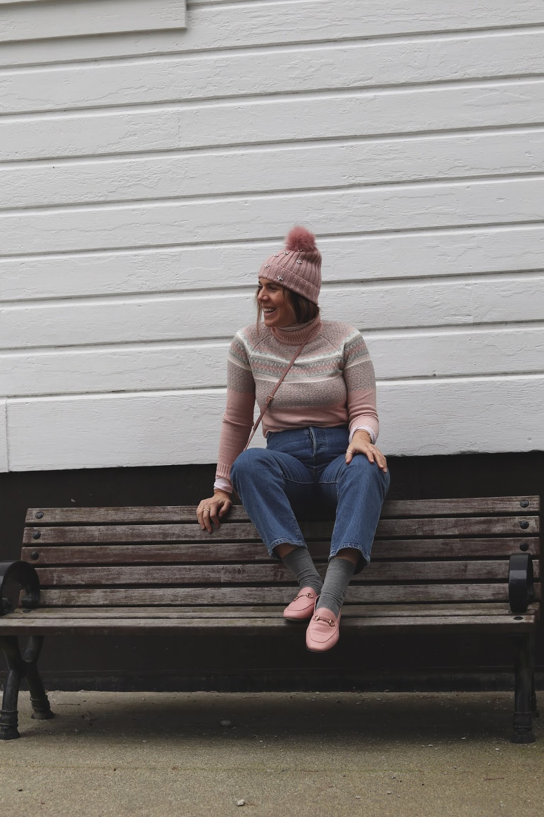 Le Chateau pink toque blogger le chateau pink strip turtleneck sweater outfit levi's ribcage jeans vancouver blogger