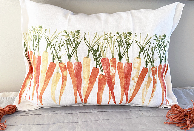 carrot pillow with tassels