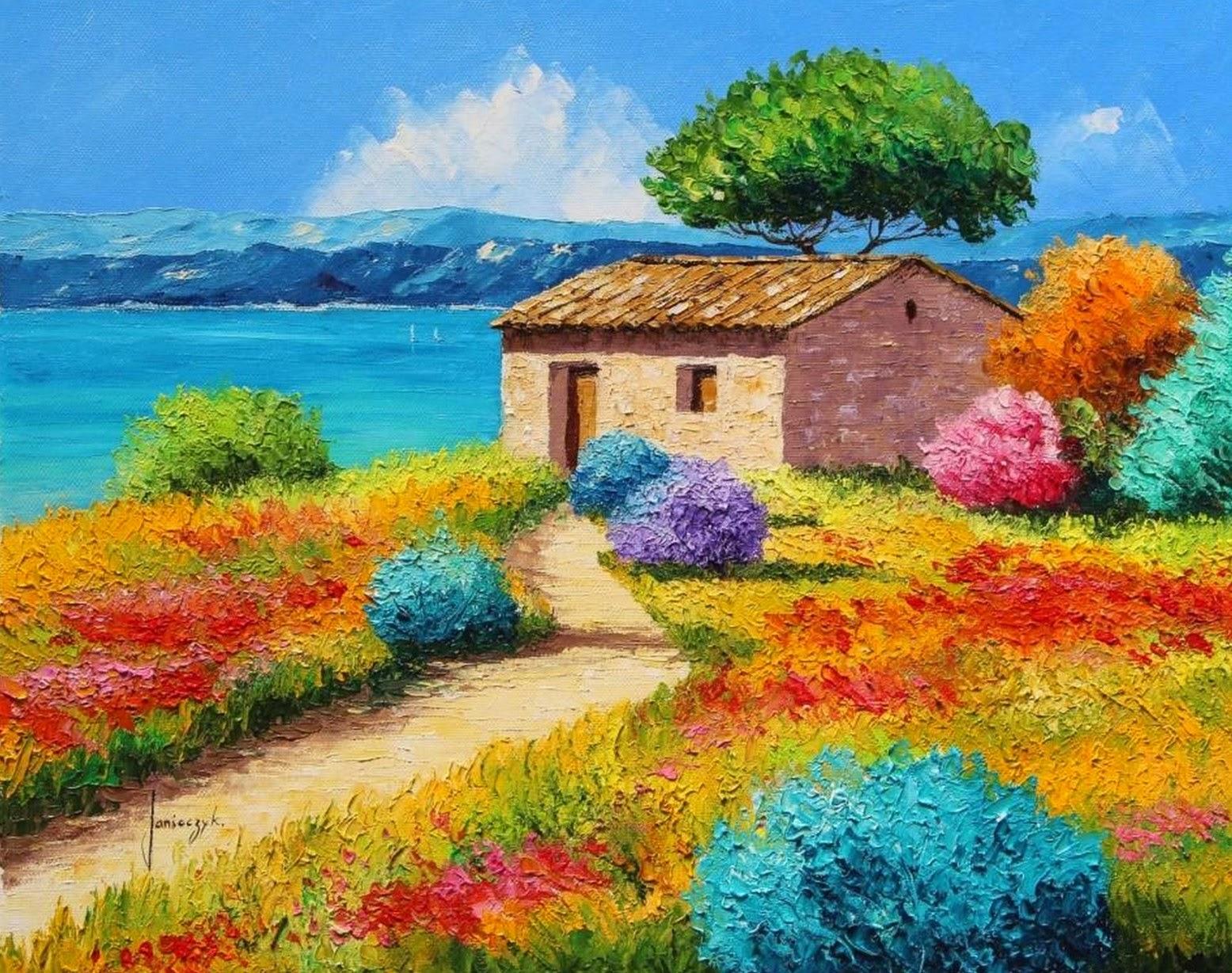 Paisajes Para Dibujar A Color Faciles: Violetas: PINTURAS CON ESPÀTULA