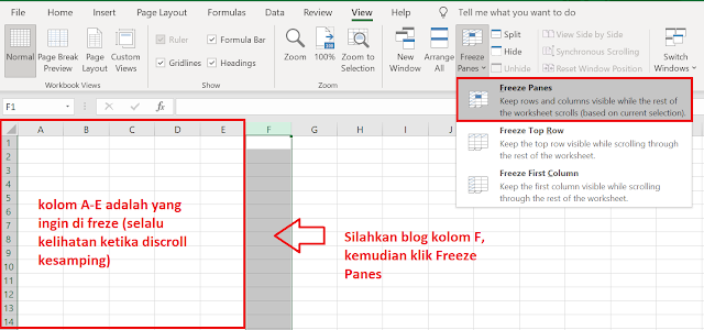 Cara Freeze Kolom dan Baris di Excel Agar Sticky atau Tidak Ikut ke Scroll
