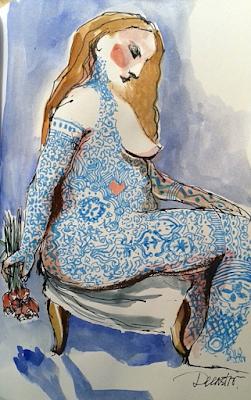tatuajes, ilustración, pecho mujer, tatuador