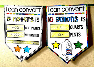 Math Pennants are a fun way to show off student work. This measurements conversions pennant has plenty of places to color while doing math.