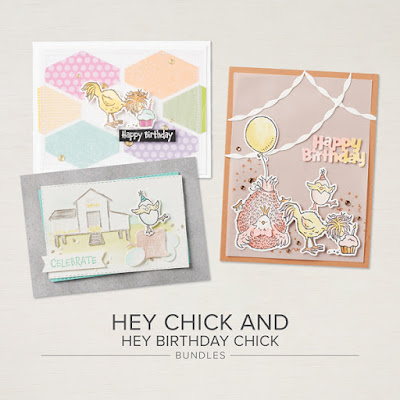 Cards make with the Hey Chick Stamp Set & Die Bundles