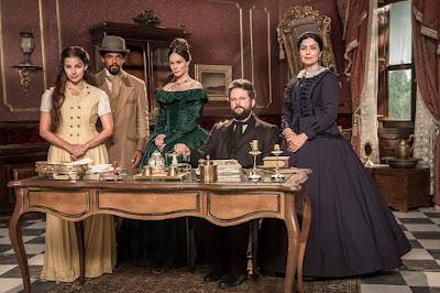 Pilar (Gabriela Medvedovski), Samuel (Michel Gomes), Luísa (Mariana Ximenes), Dom Pedro II (Selton Mello) e Teresa (Letícia Sabatella)