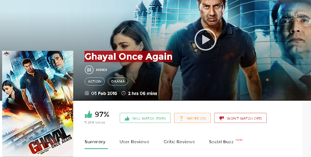 Ghayal Once Again 2016 Full Hindi Movie in HD 720p avi mp4 3gp hq free Download