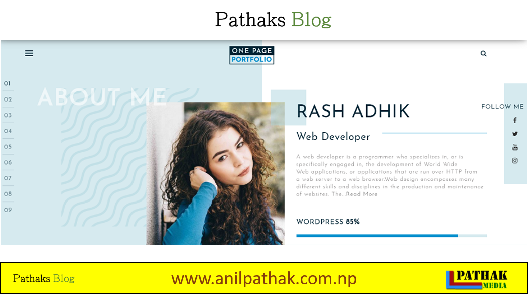 Best Wordpress Theme For Free -  One Page Portfolio, pathaks blog, anil pathak