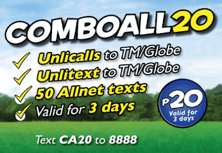 New TM COMBO ALL 20 Gives You Unli Call and Text for 3 Days