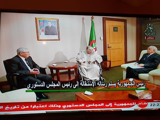 Bouteflika presenting his resignation to the Constitutional council