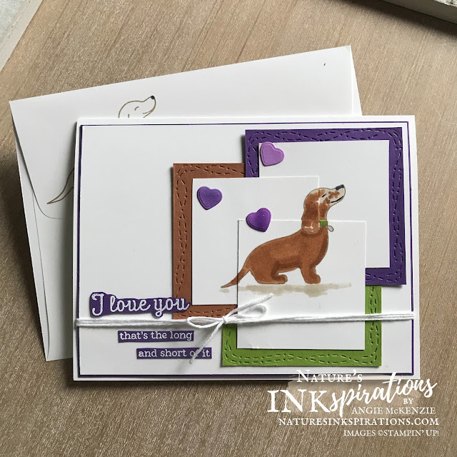 By Angie McKenzie for the Crafty Collaborations Crafty Challenge Blog Hop; Click READ or VISIT to go to my blog for details! Featuring the retiring Hot Dog Photopolymer Stamp Set and the retiring Kangaroo Dies from the January-June 2021 Mini Catalog along with the Stitched with Whimsy Dies carried over to the 2020-21 Annual Catalog by Stampin' Up!; #sketchchallenge #coloringwithblends  #hotdogstampset #kangaroodies #stitchedwithwhimsydies #bakerstwine #thinkingofyoucards #dogcards #hotdog #dachshund #fortheloveofdachshunds #cardtechniques #craftychallengebloghop #stampinup #naturesinkspirations #makingotherssmileonecreationatatime
