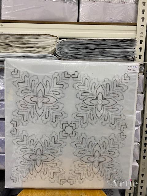 Hotfix stickers dmc rhinestone aplikasi tudung bawal fabrik pakaian corak bunga 4 bucu silver & dark gray