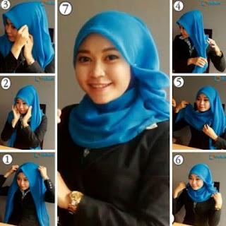 Cara memakai hijab segi empat kantoran