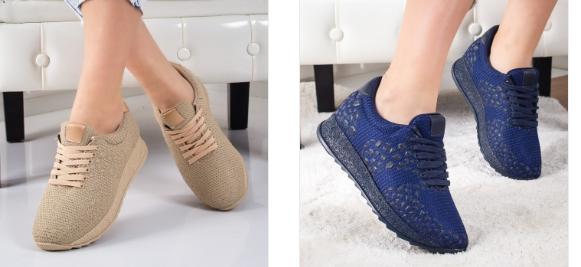 Pantofi sport dama albastri, bej din material de primavara