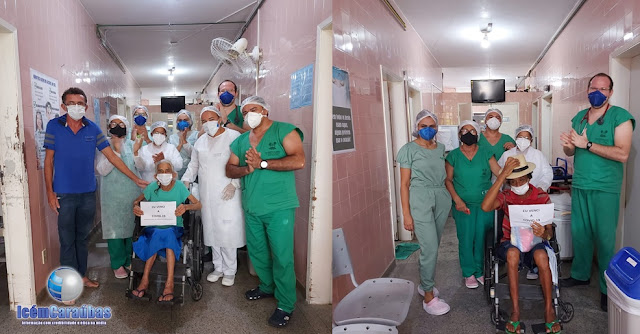 Mais duas pessoas vencem a Covid-19 e recebem aplausos de equipe de profissionais do Hospital Regional de Caraúbas