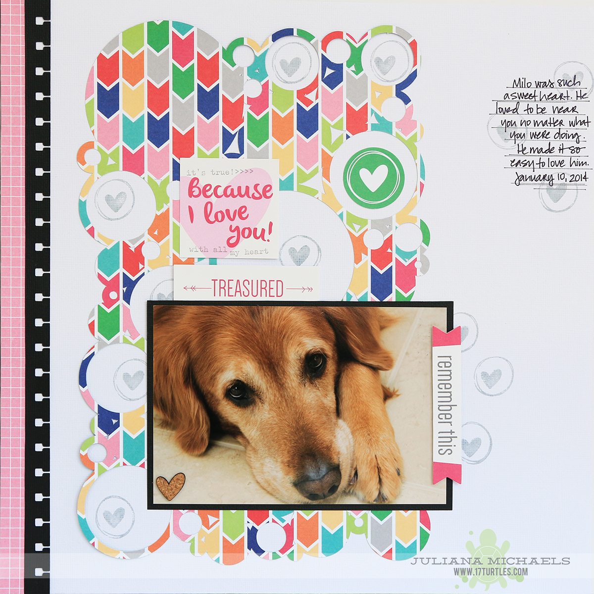 Because I Love You Scrapbook Page by Juliana Michaels for Elle's Studio