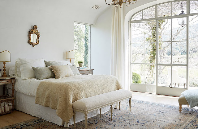 Patina Farm serene neutral master bedroom Steve and Brooke Giannetti