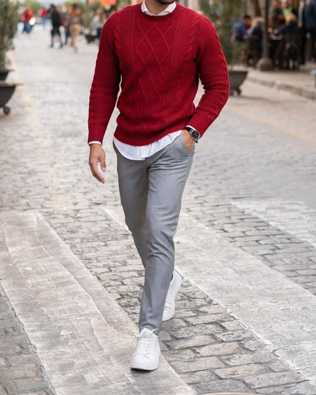 Dark red sweater and grey trousers
