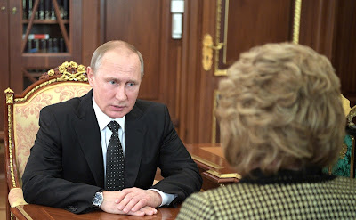 Vladimir Putin with Federation Council Speaker Valentina Matviyenko.