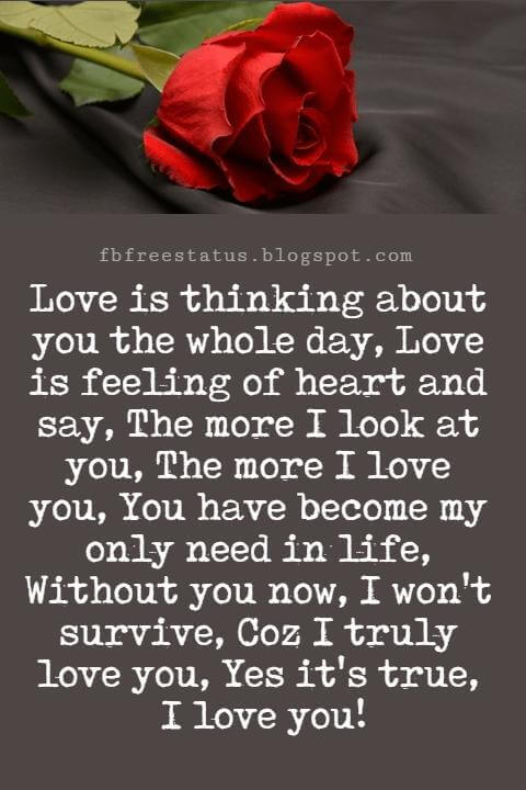 I Love You Text Messages, Love is thinking about you the whole day, Love is feeling of heart and say, The more I look at you, The more I love you, You have become my only need in life, Without you now, I won't survive, Coz I truly love you, Yes it's true, I love you!