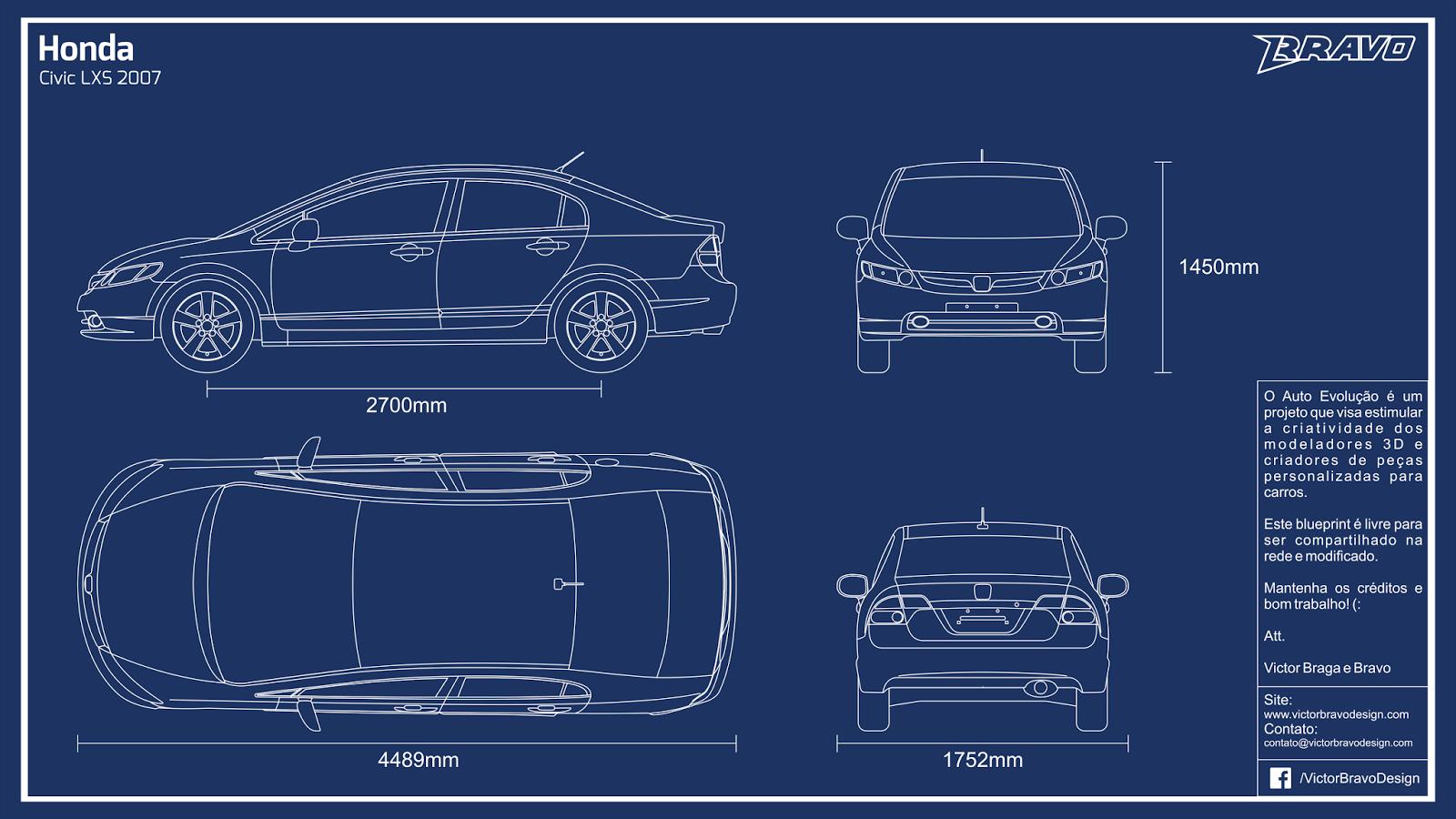 Imagem mostrando o blueprint do Honda Civic LXS 2007