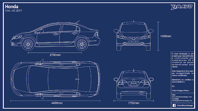 Imagem mostrando o blueprint do Honda Civic LXS 2007