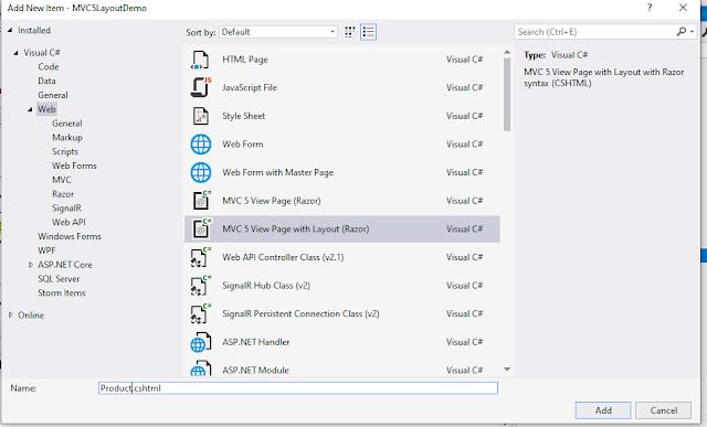 Layout View in ASP.NET MVC 5