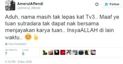Amerul Affendi Akur Dipinggirkan Stesen TV Kerana Tidak Kacak