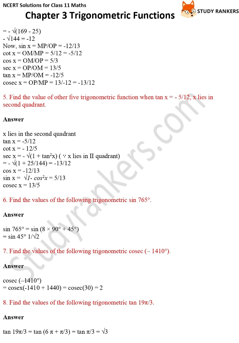 NCERT Solutions for Class 11 Maths Chapter 3 Trigonometric Functions 6
