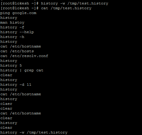 write all history command in file