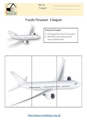 Lembar Kerja Paud Puzzle Pesawat 3 Bagian