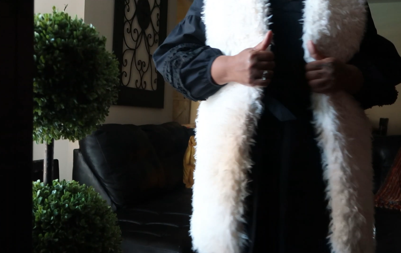 Tangie Bell sharing how she wears the same white faux fur with one black dress: Judge My Style