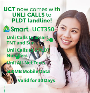 Smart UCT350 : Unli Call to PLDT, Smart, TNT, Sun + Unli All-Net Texts for 30 Days