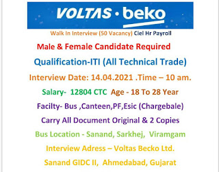 ITI  All Trades Jobs Vacancy For Male & Female Both Candidates in Voltas Becko Ltd Sanand, Gujarat Interview on 14th April 2021