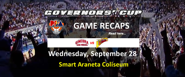 List of PBA Game Wednesday September 28, 2016 @ Smart Araneta Coliseum
