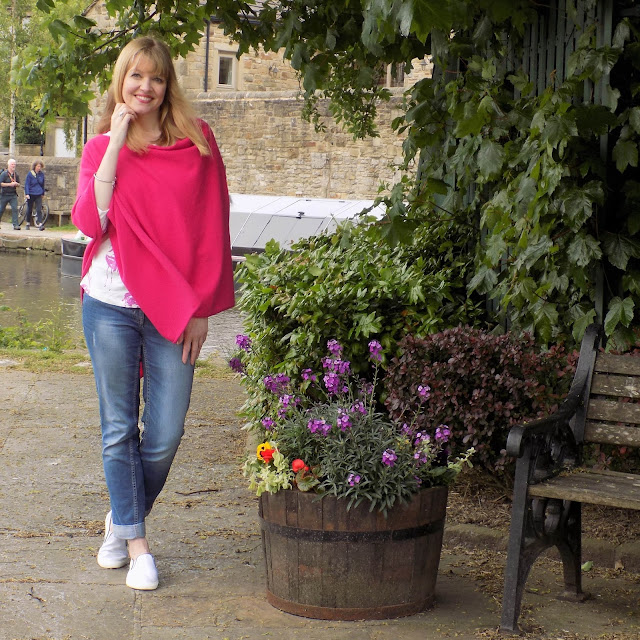 The Hope bright pink poncho and flamingo top