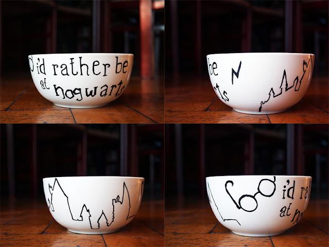 selbstbemalte Porzellanschüssel Hogwarts