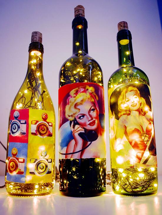 luminária de garrafa