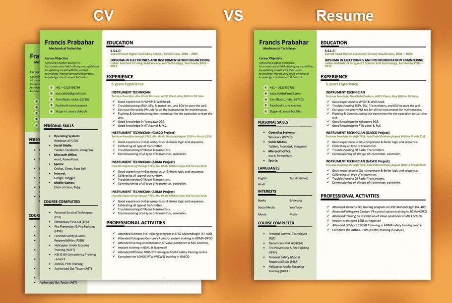 Cv Vs Resume My Ideal Resume The Best Resume