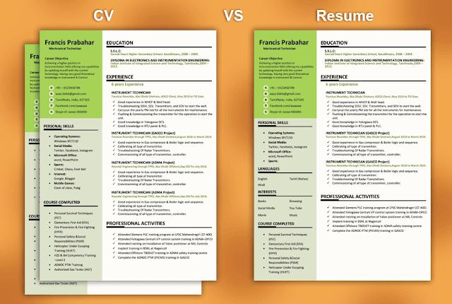 Difference Between CV vs Resume CV