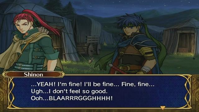 Fire Emblem Path of Radiance Shinon drunk vomit barf base conversation