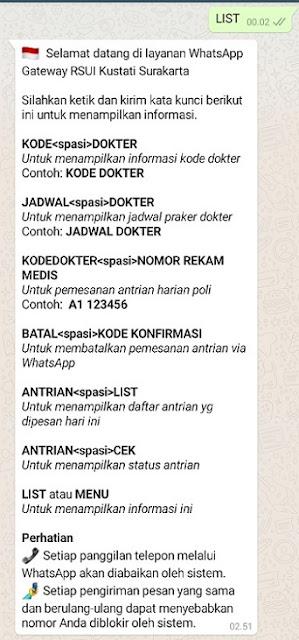 cara daftar kontrol lewat WA di RS Kustati