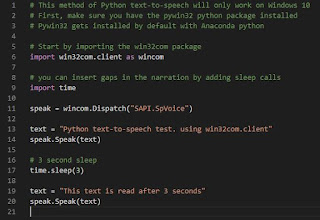 Text-to-speech with PyWin32