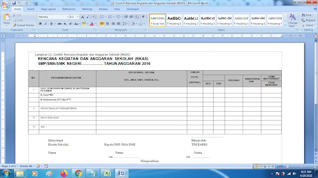 Contoh Format Rencana Kegiatan dan Anggaran Sekolah RKAS
