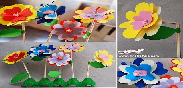 Sugestão de flores feitas com papel para a primavera