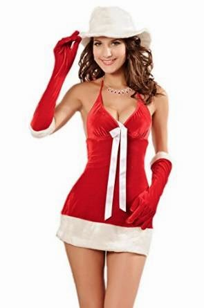 Smile YKK Christmass Honey Deep V Mini Dress Costume Cosplay Set