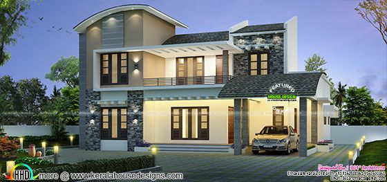 2768 sqft Curved Roof style 4 bed room House